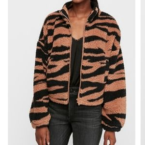 Express one eleven Tiger print Sherpa Jacket
